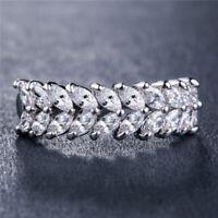 Fashion Women 925 Silver Wedding Ring Marquise Cut White Sapphire Size 6-10