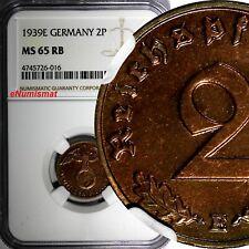 Germany-Third Reich Bronze 1939 E 2 Reichspfennig NGC MS65 RB TOP GRADED KM# 90