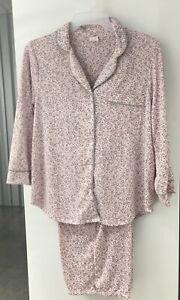 New Women's Secret Treasures Notch Collar Pajama Set Pink & Gray Cheetah Size 3X