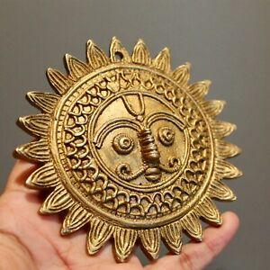 Sun Moon Wall Decor, Vintage Gold Celestial Brass Metal, Patio Hanging Plaque