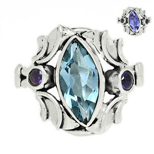 Colorchange Alexandrite (Lab.) & Amethyst 925 Silver Ring s.7.5 BR95365