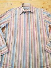 "Men's JAEGER shirt Medium 15.5"" collar chest 40"" long sleeves striped 100%cotton"