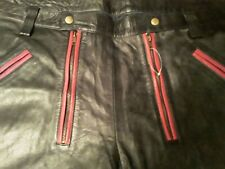 """Mens real leather short pipping pants size 42"""""""
