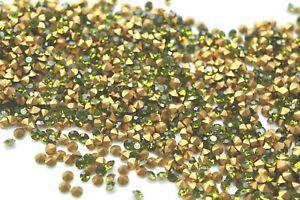 1,440 Preciosa 17ss Olivine Chaton Crystal Machine Cut Rhinestones -V4336