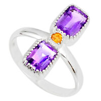 3.37cts Natural Purple Amethyst Citrine 925 Sterling Silver Ring Size 7 R77239