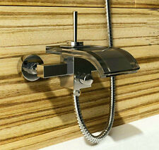 Glass Bathroom Modern Wall Mounted  Mixer Taps Bath Tub &  Basin & Vessel Faucet
