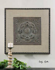 Tuscan / French Style Wall Decor Plaque Embossed Stamped Design Burlap Matting
