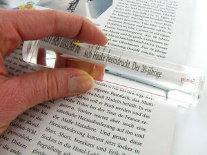 2X 122 mm x 26 mm Eschenbach Bar Magnifier with Red Guide Line