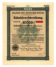 German Government: uncancelled 10,000 Mark Bond, third issue 1922, complete