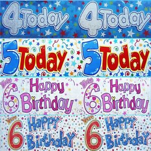 4th 5th 6th GIANT BIRTHDAY BANNERS - MULTI COLOURED - PARTY DECORATIONS