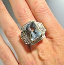 HUGE Natural Aquamarine Diamond Ring Filigree Vintage Engagement 14K Gold Blue
