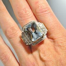 HUGE Natural Aquamarine Diamond Ring Filigree Vintage Engagement 14K Gold Blue