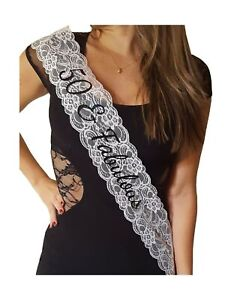 50 & Fabulous Lace Sash - 50th Birthday Sash (White) White