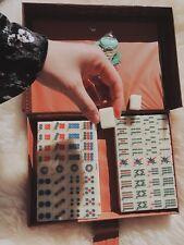 Mini mah-jong set Cream White 144 tiles Travel pack with Portable Mahjong Box