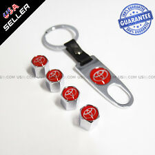 Chrome Wheel Tyre Tire Valve Dust Stems Air Caps Keychain With Red Logo Emblem