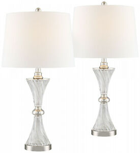 Modern Table Lamps Set of 2 w/ USB Charging Port Living Room Bedroom Bedside