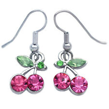 Pink Cherry Fruit Charm Dangle Hook Earrings Women Jewelry Gift For Girls