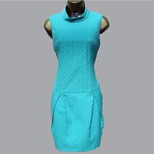NWT Karen Millen Aqua Green Jacquard Low Waist Casual Evening Dress sz-10/38