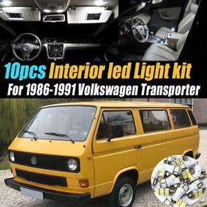 10Pc Super White Car Interior LED Light Kit for 1986-1991 Volkswagen Transporter