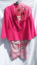 Together 14 Pink White bead dress with pink Diamonte button jacket  & fascinator