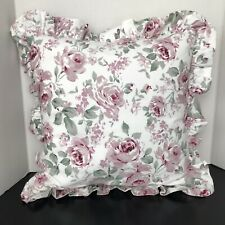 "Target Woven Floral Square Throw Pillow White Green Pink 16"" x 16"""