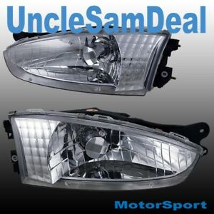 MITSUBISHI MIRAGE 2 DOORS COUPE FACTORY LOOK CLEAR LENS CHROME HEADLIGHTS PAIR