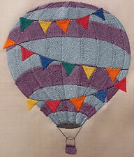 "Embroidered Quilt Block Panel ""Hot Air Balloon"" Pure Irish Linen Fabric"