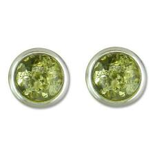 Sterling Silver Round Green Amber Stud Earrings