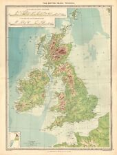 1907  LARGE ANTIQUE MAP - THE BRITISH ISLES : PHYSICAL