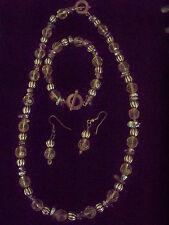 Gold Bead Bracelet Necklace Earrings  3piece VINTAGE Costume RARE  Jewelry Set