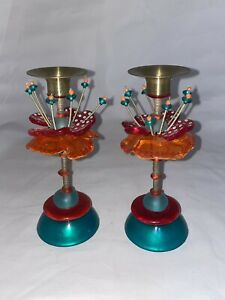 WHIMSICAL LALO ORNA CANDLESTICK CANDLE HOLDER PAIR SET