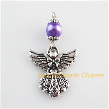 5 New Charms Purple Glass Round Beads Angel Pendants Tibetan Silver Tone