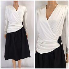 Vintage 80s 90s Satin Cocktail Party Dress Ruched Draped Black White Filigree L