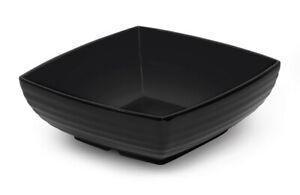 Melamine Square Salad/Serving Bowl 8inch 1.9 litre Black ribbed