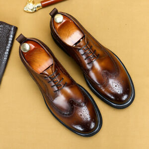 Brogue Men Dress Formal Business Leather Shoes Lace Up Party Round Toe Shoes New