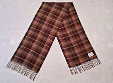 VINTAGE SCOTLAND CASHMERE PLAID BROWN CASHMERE BLEND LONG MENS FRINGE SCARF
