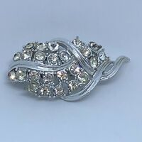 1950s Paste Brooch Vintage Mid Century Style Silver Colour Clear Glass Leaf Pin