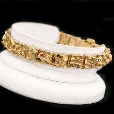 "8mm Chunky NUGGET Link 8"" 24kt 14k GOLD GL MENS Bracelet | LIFE GUARANTEE | NEW"