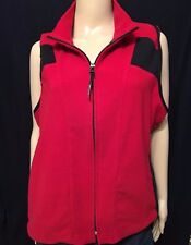Campmor Brand Womens Size XL Solid Red Polyester Fleece Full Zip Sleeveless Vest