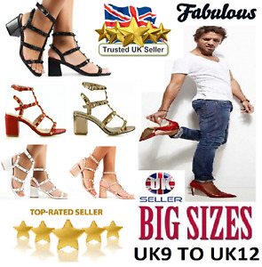 Womens Mens Studded Ankle Strap Mid Block Sandals Shoes Open Toe Big Sizes 8-12