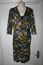 Ladies Per Una Stretchy Dress Size 8 Green/ Brown