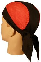Red Black Vented Terry Cloth Sweatband Doo Rag Headwrap Skull Cap MADE IN USA