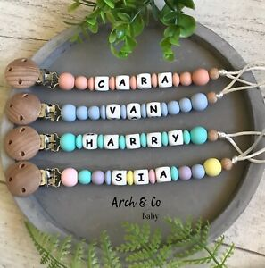 Personalised dummy clip Pacifier chain dummie Silicone baby soother holder name