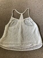 UK 8 TOPSHOP OFF WHITE CAMI BEADED CAMI TOP FESTIVAL/BOHO/IBIZA/SUMMER/KYLIE/KIM