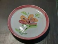 "HANDMADE SIGNED GZO POTTERY STUDIO ART 7.25"" PLATE PINK FLORAL"