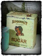 Primitive Vintage Victorian Reproduction Old`Sunbonnet Sugar` Canister Tin`