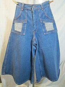 Vintage BRAXTON JEANS Denim Culottes High Waist 70s  Size 9/10 Orange Stitching