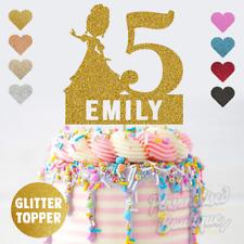 Personalised Custom Glitter Cake Topper Princess Girls Kids Birthday, Name Age