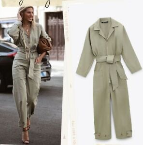 ZARA NEW WOMAN LONG BELTED JUMPSUIT KHAKI GREEN SIZE XS REF. 4661/337