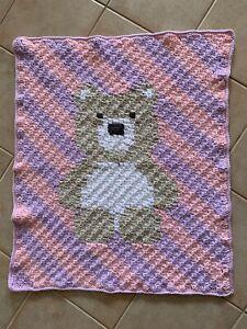 Handmade Thick Crochet Pink Purple Striped Teddy Bear Baby Blanket
